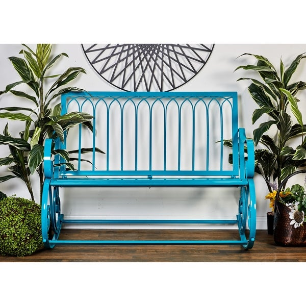 Shop Modern 37 X 49 Inch Turquoise Metal Rocking Bench By