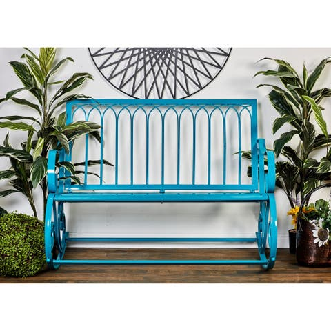 Modern 37 x 49 Inch Turquoise Metal Rocking Bench by Studio 350