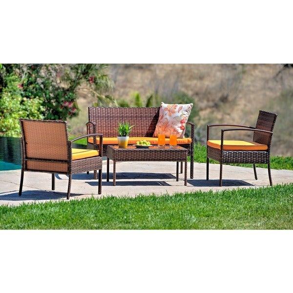 Teaset 4-piece Patio Conversation Set with Orange Cushions - Teaset 4-piece Patio Conversation Set With Orange Cushions - Free