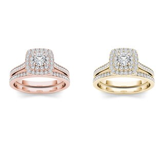 De Couer 10k Gold 3/4ct TDW Diamond Halo Engagement Ring Set (H-I, I2)