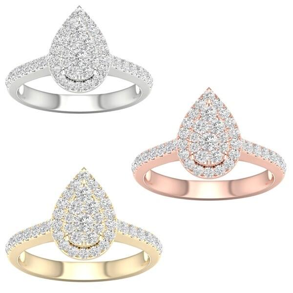 De Couer IGI Certified 10k Gold 3/4ct TDW Diamond Pear-Shaped Halo Engagement Ring