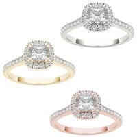 De Couer 14k Gold 1 1/10ct TDW Diamond Halo Engagement Ring