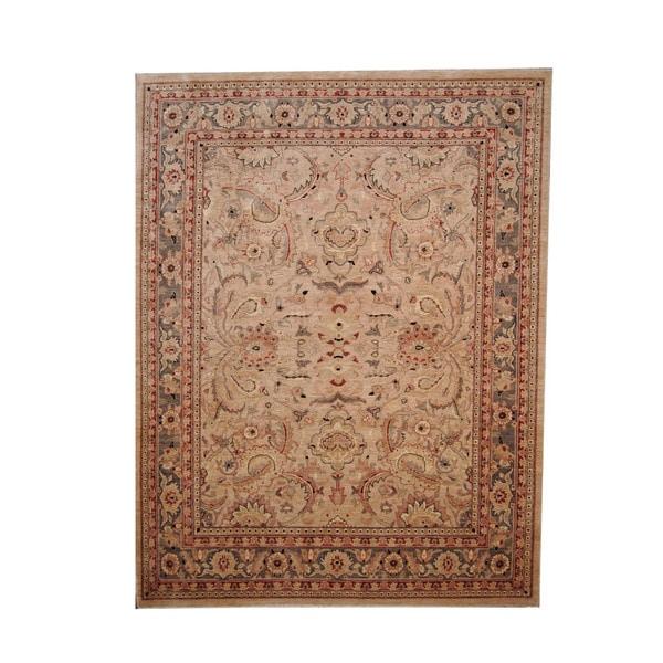 Herat Oriental Afghan Hand-knotted Vegetable Dye Oushak Wool Rug (7'9 x 10'3) - 7'9 x 10'3