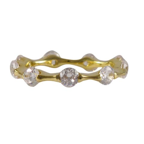 Luxiro Sterling Silver Gold Finish Pave Cubic Zirconia Eternity Ring
