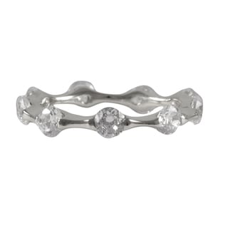 Luxiro Sterling Silver Pave Cubic Zirconia Eternity Ring
