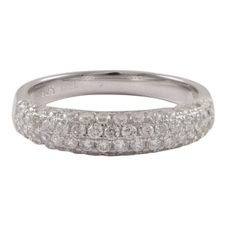 Luxiro Sterling Silver Pave Cubic Zirconia Domed Ring