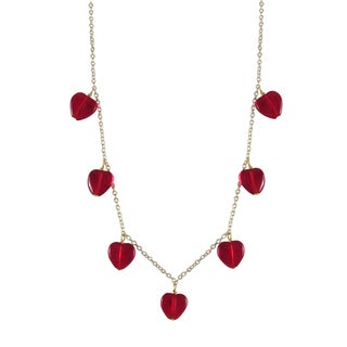 Luxiro Gold Finish Red Heart Girls Charm Necklace