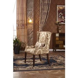 Classic Floral Sloped Arm Hostess Dining Chair with Pillow