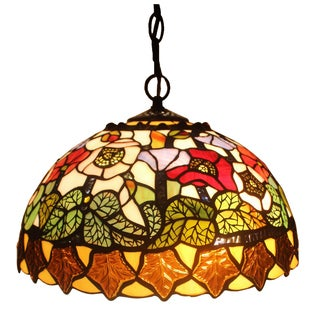 Amora Lighting Tiffany Style Floral Design Hanging Lamp 2 Light