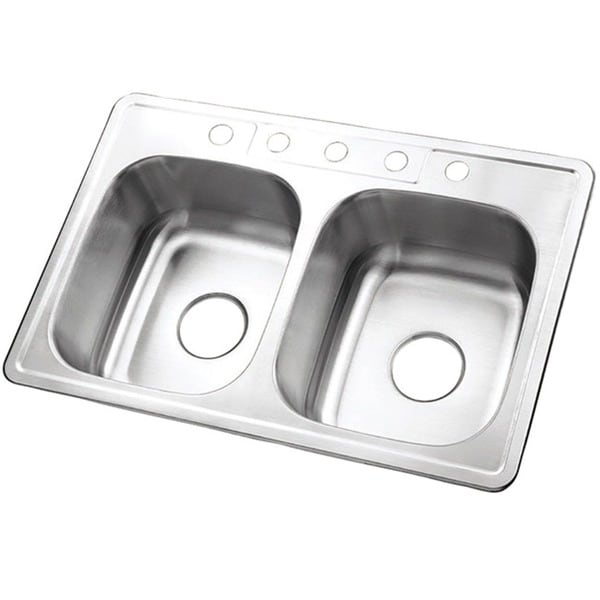 Shop Double Bowl Self Rimming 33 Inch Stainless Steel