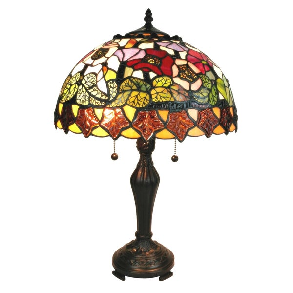 amora lighting tiffany style poppies design table lamp 21 inches. Black Bedroom Furniture Sets. Home Design Ideas
