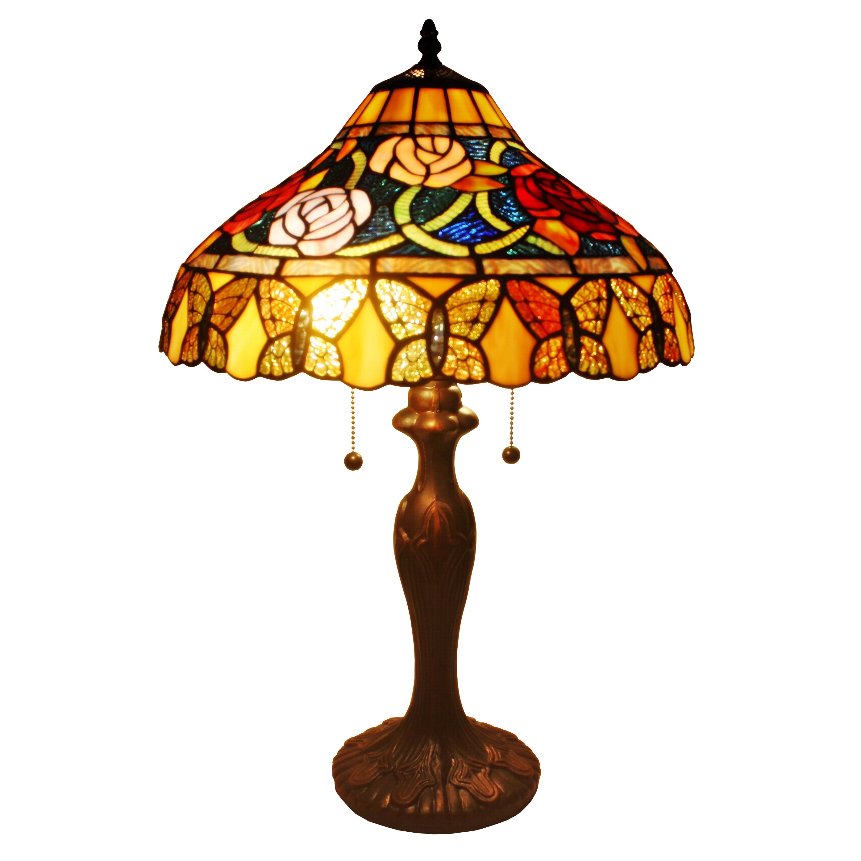 Amora Lighting Tiffany Style Roses And Butterflies Table ...