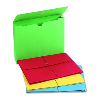 Smead 2 inch Accordion Blue/Green/Red/Yellow Expansion Wallet (Box of 50)