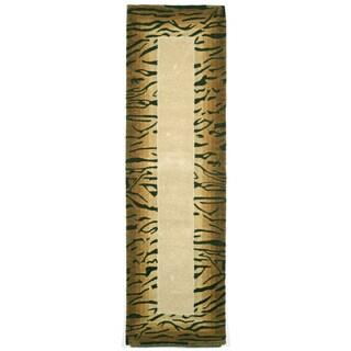 Tiger Brown Border Indoor Rug (2'3 x 8)