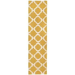Floor Yellow Pattern Outdoor Rug (2' x 8')