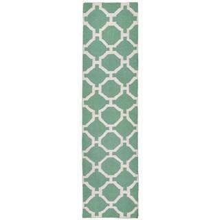 Floor Aqua Pattern Outdoor Rug (2' x 8')