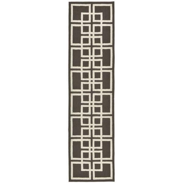Charcoal Geometric Outdoor Rug - 2' x 8'