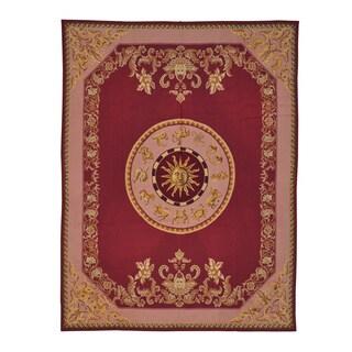 Burgundy Needlepoint Zodiac Design Handmade Rug (7'6 x 9'10)