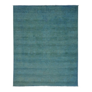 Overdyed Peshawar Sky Blue Oriental Hand-knotted Rug (8' x 10')