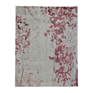 Rayon from Bamboo Silk Modern Abstract Design Handmade Oriental Rug (7'10 x 10')