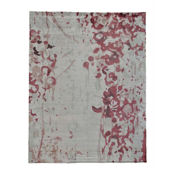 Rayon from Bamboo Silk Modern Abstract Design Handmade Oriental Rug - 7'10 x 10'