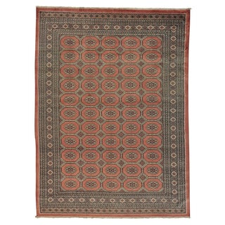 100-percent Wool Hand-knotted Salmon Bokhara Oriental Rug (9'2 x 12'4)