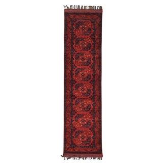 Rust Red Runner Handmade Afghan Ersari Oriental Rug (2'8 x 10'2)