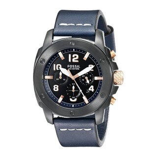 Fossil Modern Machine Men's FS5066 Chronograph Blue Leather Black Case 10ATM Watch