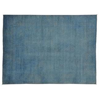 Denim Blue Overdyed Peshawar Oriental Rug Handmade (9'1 x 12'3)