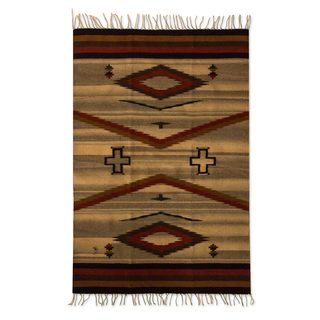 Red Brown Black Gray Geometric Pattern Natural Dyes 100-percent Wool Handmade Mexican Zapotec Decor Accent Area Rug (4x6)