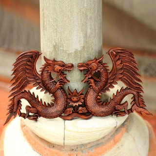 Handcrafted Suar Wood 'Winged Dragons' Relief Panel (Indonesia)