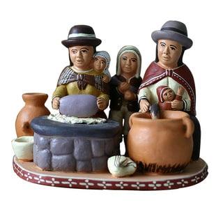 Handcrafted Ceramic 'Outdoor Kitchen' Statuette (Peru)
