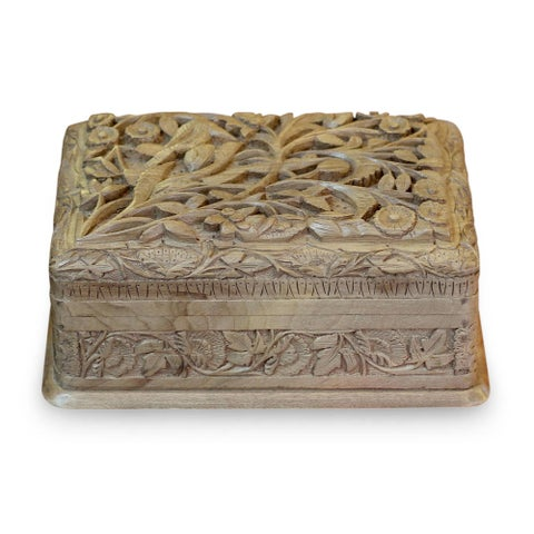 Handmade Walnut Wood 'Birds in Wonderland' Jewelry Box (India)