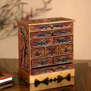 Handcrafted Wood Leather 'Happy Hummingbird' Jewelry Box (Peru)