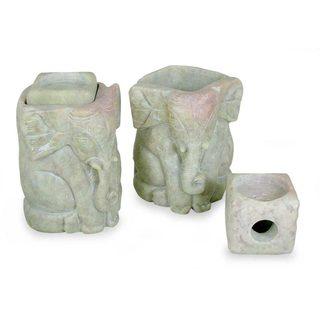 Handmade Set of 2 Soapstone 'Baby Elephants' Candle Holders (India)
