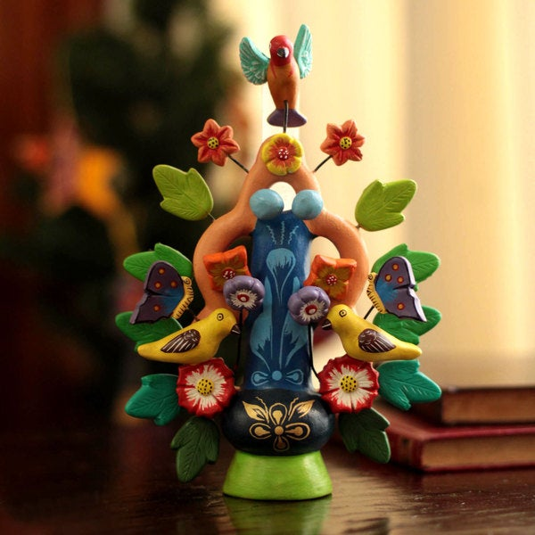 Handcrafted Ceramic 'Spring Tree of Life' Candleholder (Peru)
