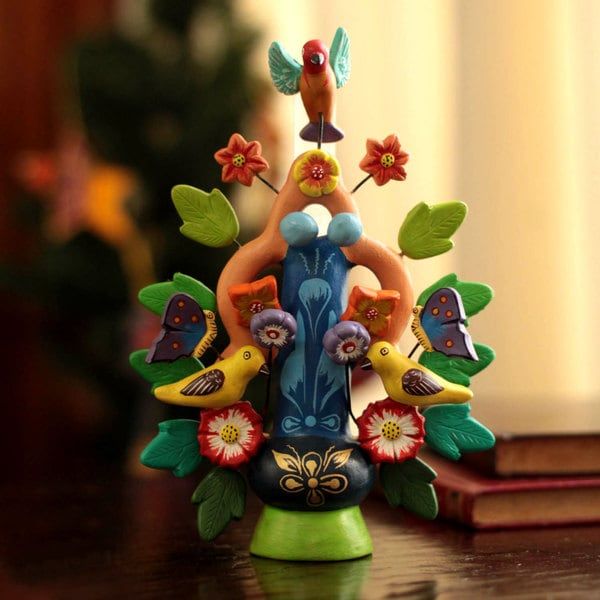 Handmade Ceramic 'Spring Tree of Life' Candleholder (Peru)