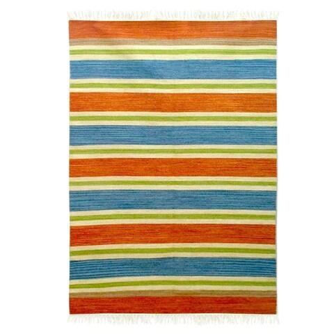 Handmade Wool 'Bold India' Rug 4x6 (India) - 4' x 6'