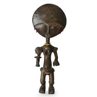 Handcrafted Sese Wood 'Brave Fuase Mothers' Fertility Doll (Ghana)
