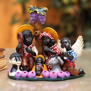 Handcrafted Ceramic 'Christmas in a Vineyard' Nativity Scene (Peru)