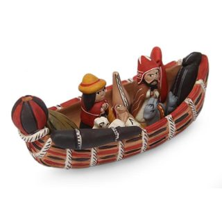 Handcrafted Ceramic 'Born in a Canoe' Nativity Scene (Peru)