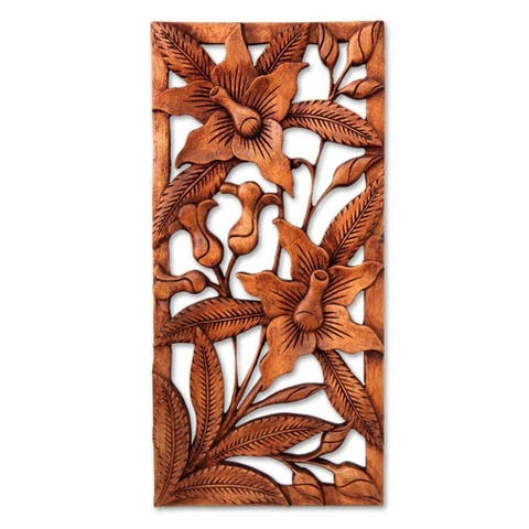 Handmade Suar Wood 'Balinese Orchids' Relief Panel (Indonesia)