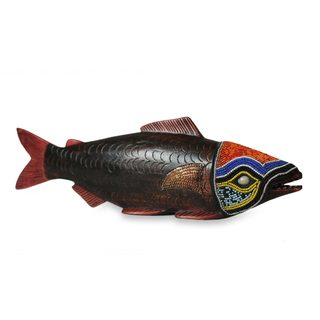 Handmade Beaded Sese Wood 'Tribal Salmon' Sculpture (Ghana)
