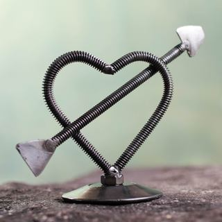 Handcrafted Auto Part 'Heart in Love' Sculpture (Peru)