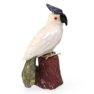 Handcrafted Multi-gemstone 'Perky Pink Cockatoo' Sculpture (Peru)