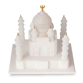Unique Gift Birthday or Any Occasion (Includes Velvet Box) White Marble Decorator Accent Taj Mahal Art Work Sculpture (India)