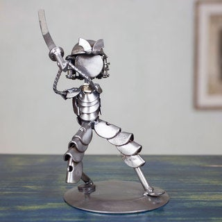 Handcrafted Recycled Metal 'Rustic Samurai II' Statuette (Mexico)