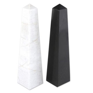 """Set of 2 Onyx 'Day and Night' Obelisk Sculptures (Peru) - 1.8""""x7.5"""""""