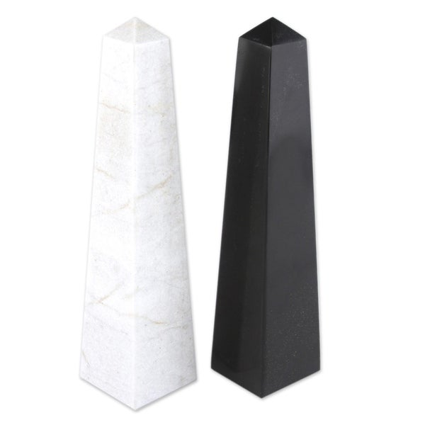 "Handmade Onyx Day and Night Obelisk Sculpture, Set of 2 (Peru) - 1.8""x7.5"""