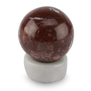 Handcrafted Garnet Calcite 'Passion' Sphere Sculpture , Handmade in Peru